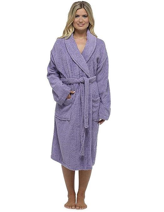 CityComfort Señoras Robe Luxury Terry Toweling algodón Bata Albornoz Mujeres Altamente Absorbente Mujeres con Capucha y Shawl Towel baño Abrigo: Amazon.es: ...