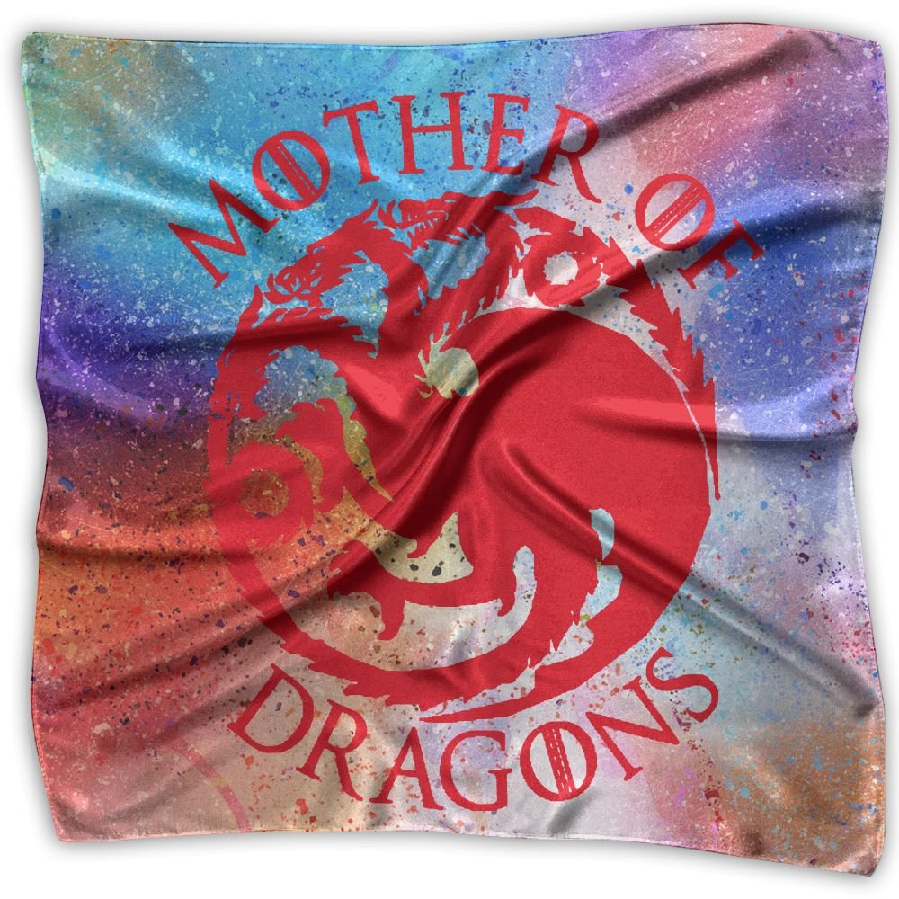 Mother Dragons Womens Square Polyester Satin Neck Head Scarf Scarves Set