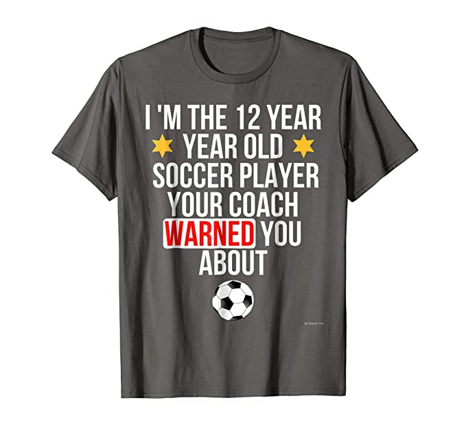 Mens Soccer 12th Birthday T Shirt 12 Year Old 2XL Asphalt