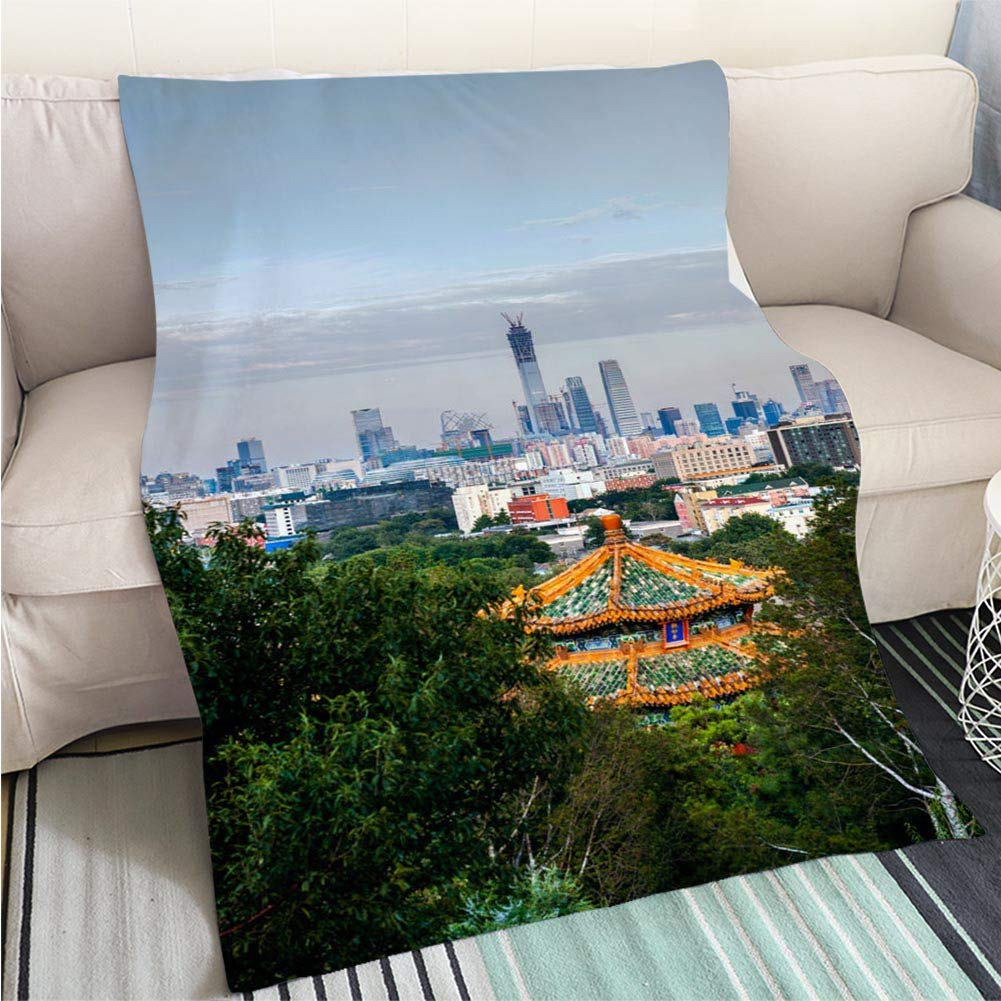 color20 47 x 80in BEICICI Comforter Multicolor Bed or Couch View of The Beautiful Beach and Coastline Art Blanket as Bedspread gold White Bed or Couch