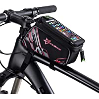 """ROCKBROS Bicycle Top Tube Frame Cycling Pannier Water Resistant Bike Bag and Mobile Phone Screen Touch Holder Mount Fits Phones for 6"""""""