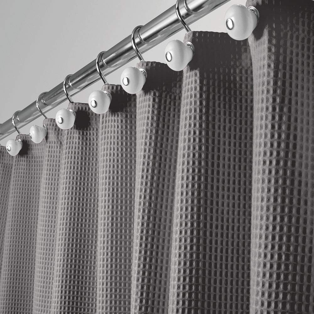 mDesign Extra Wide Hotel Quality Polyester/Cotton Blend Fabric Shower Curtain, Rustproof Metal Grommets - Waffle Weave for Bathroom Showers and Bathtubs - 108'' x 72'' - Gray