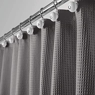 mDesign Hotel Quality Polyester/Cotton Blend Fabric Shower Curtain with Waffle Weave and Rustproof Metal Grommets for Bathroom Showers and Bathtubs - 72  x 72  - Gray