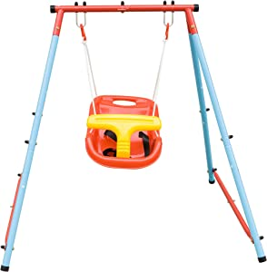 HaoKang Toddler Swing with Steel Frame and Safe Swing for Baby Swing Play Indoor and Outdoor