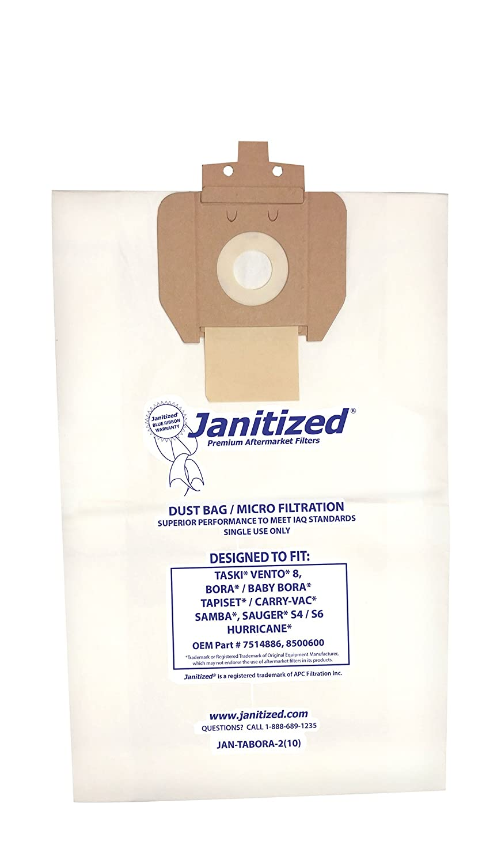 Janitized JAN-Tabora-2(10) Premium Replacement Commercial Vacuum Paper Bag for Taski Baby Bora, OEM#8500600 (Pack of 10)