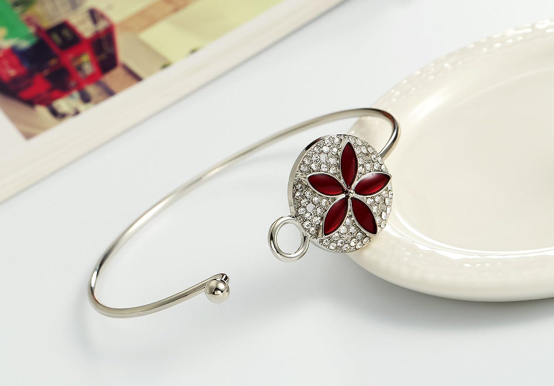 PANGRUI Delicate Crystal Flower Bangle Bracelet for Girls