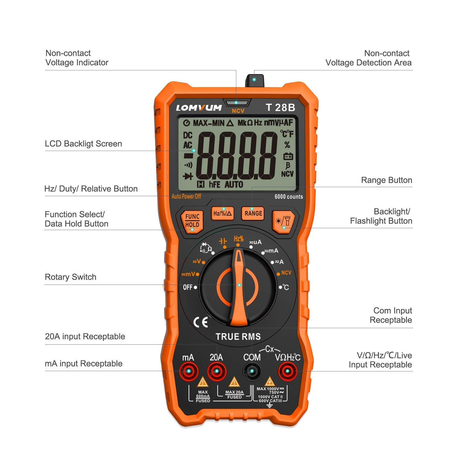 LOMVUM Digital Multimeter Tester, TRMS 6000 Counts Volt Meter Ranging; Measures Voltage Tester, Current, Resistance, Continuity, Frequency; Tests Diodes, Transistors, Temperature