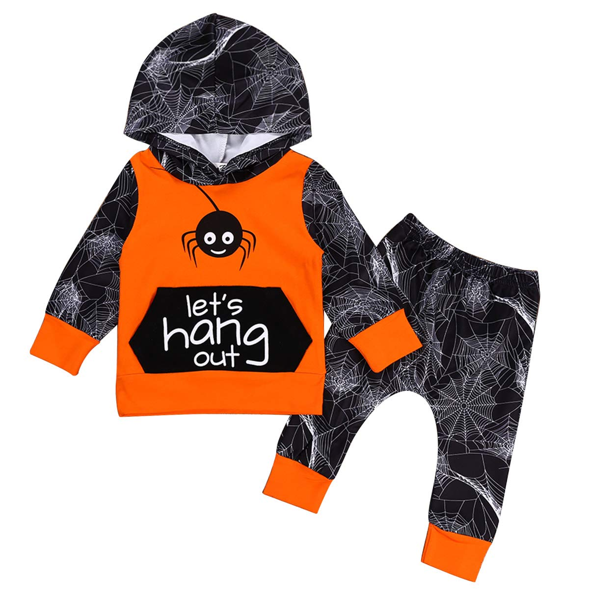 Newborn Baby Halloween Outfits Spider Hoodie Shirt Tops Pant 2Pcs Clothes Set