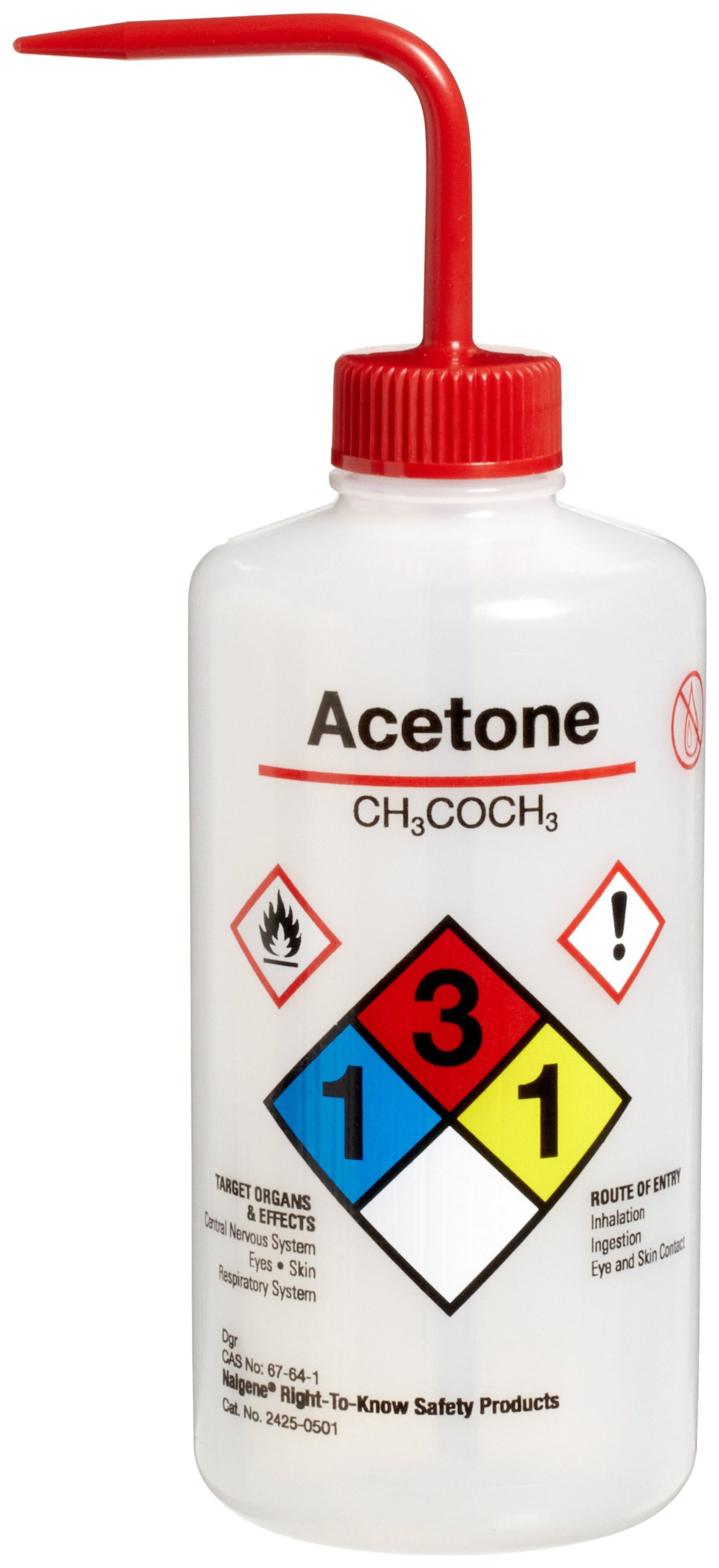 Nalgene 2425-0501 LDPE Right-To-Know Acetone Safety Wash Bottle, 500mL Capacity, 28mm Polypropylene Closure (Pack of 6)