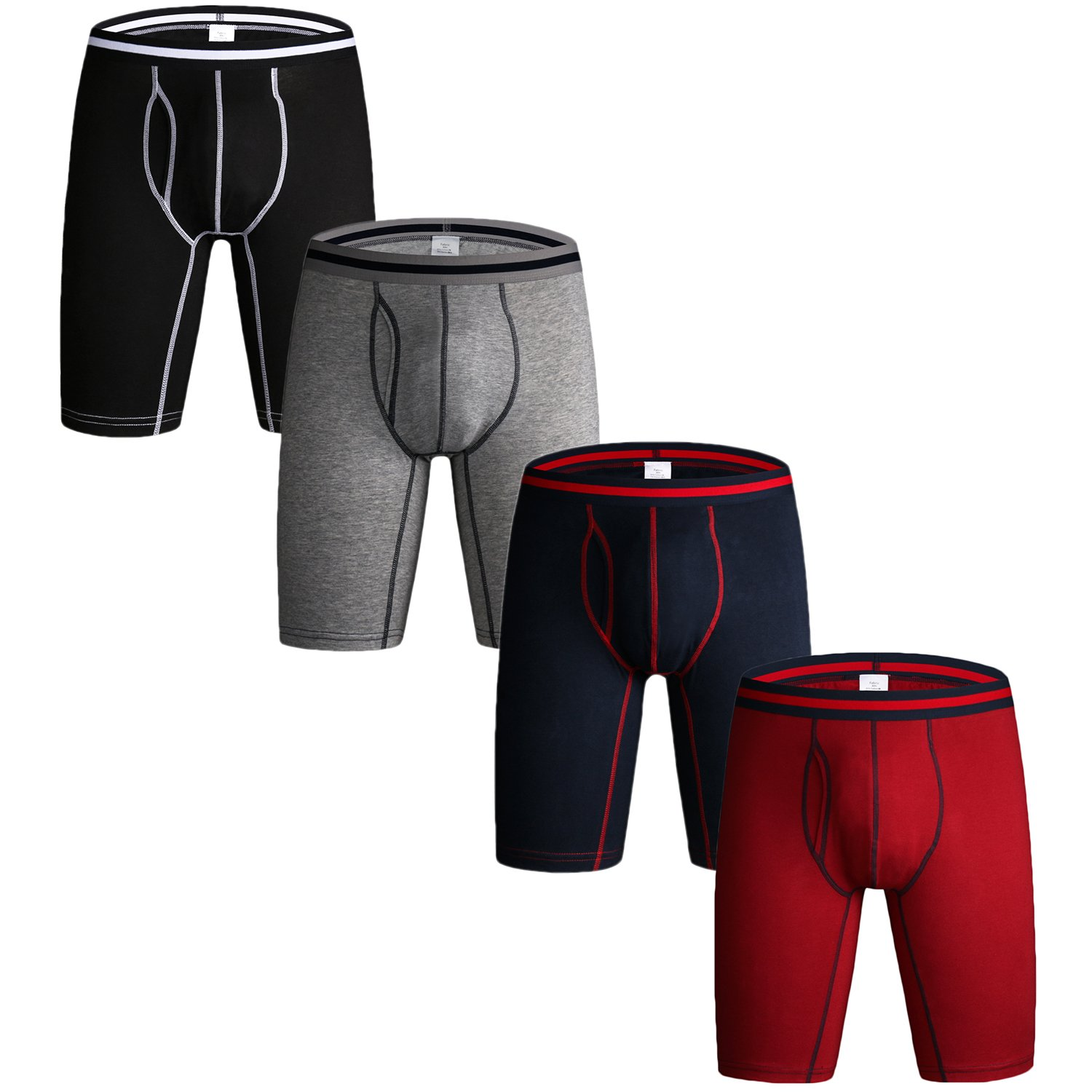 Nuofengkudu Pack of 3 & 4 Men's Long Leg Boxer Shorts Briefs Cotton Multipack Open Fly Pouch Sports Underpants Underwear Assorted