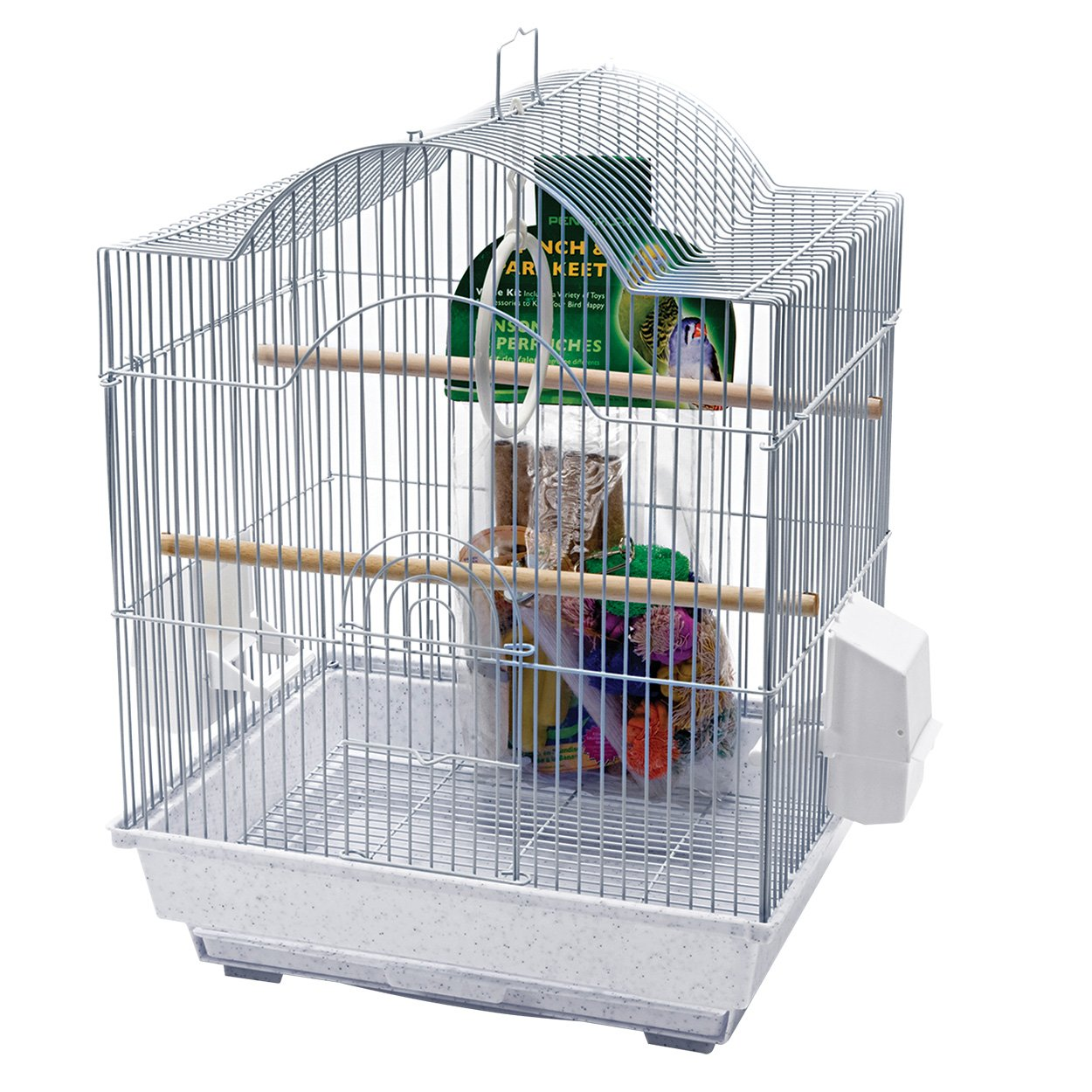 Penn Plax 64593 Small Bird Cage Kit Arch Style, White PS04O