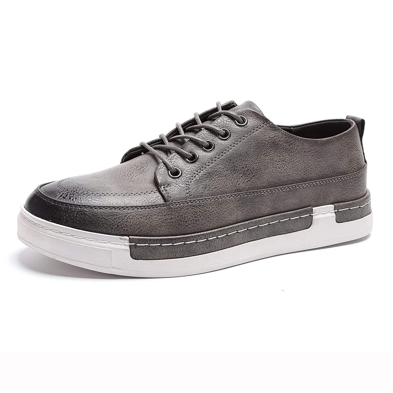 FuweiEncore Herren schnüren Sich Oben beiläufige Stiefel-Plattform-Müßiggänger-PU-Leder Schuhe (Farbe     Grau, Größe   UK 6 Label 40) ef37cd