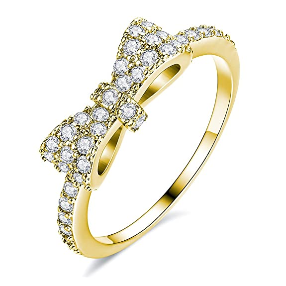 Jsely Fashion Cute Bow Ring Knot CZ 18k Gold Plated Eternity Band Engagement Promise Rings for Women Girls, (Gold, 6)