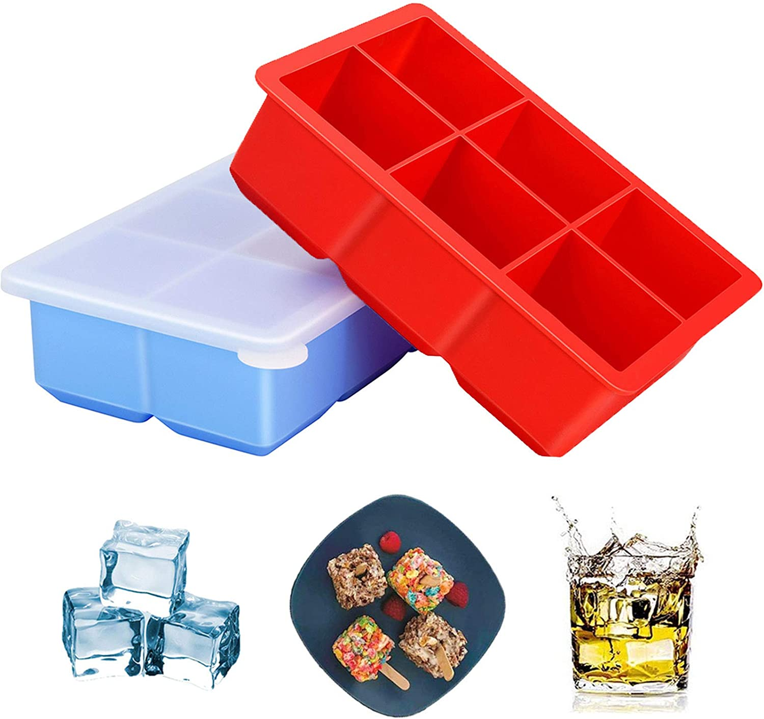 Jisiloe Large Ice Tray with Lid - Pack of 2, Silicone Flexible 6 Cavity Ice Molds for Whiskey, Cocktails and Baby Food - 2 Inch Square Cubes Stackable Easy Release, Reusable & Nontoxic Ice Cube
