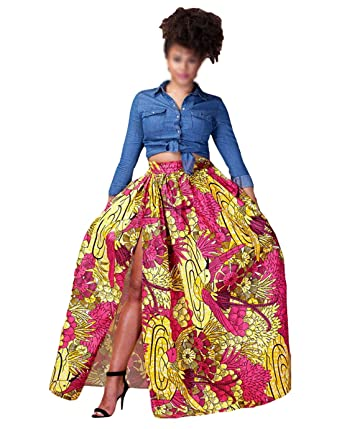 0f55cb95c Image Unavailable. Image not available for. Color: Monique Women African Style  Floral Print Long Maxi Skirt Slit High ...