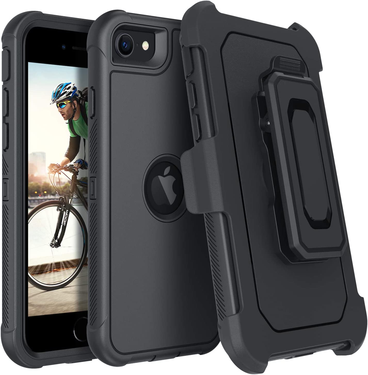 DUEDUE iPhone SE 2020 Case, Military Grade Shockproof Drop Protection Heavy Duty Full Body Rugged Cover with Kickstand Belt Clip Holster for iPhone SE2 2nd Generation 4.7 inch, Black