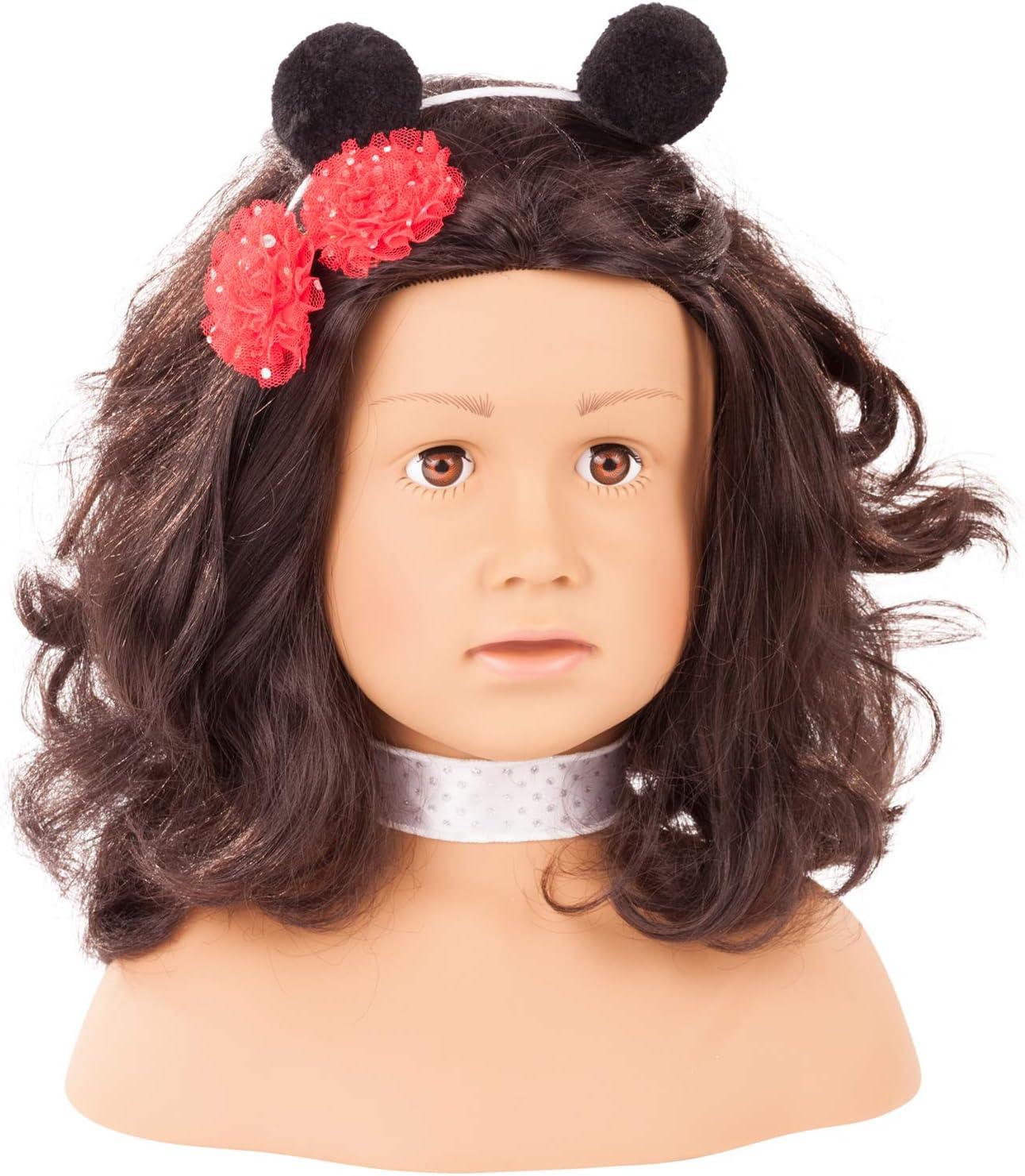 Gotz 1992157 Peluquín Ladybug con Pelo Negro y Ojos Marrones - 28 cm Alta Cabezal de Maquillaje / Cabezal de Vestir - Juego de 68 Piezas - Adecuado para niñas a Partir de 3 años
