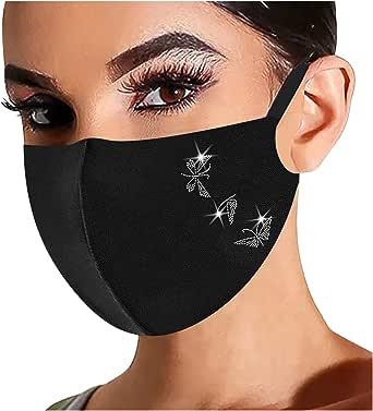 Rhinestone Face_Masks Valentine's Heart Printed Unisex Reusable Windproof Anti-Dust Mouth Bandanas for Women