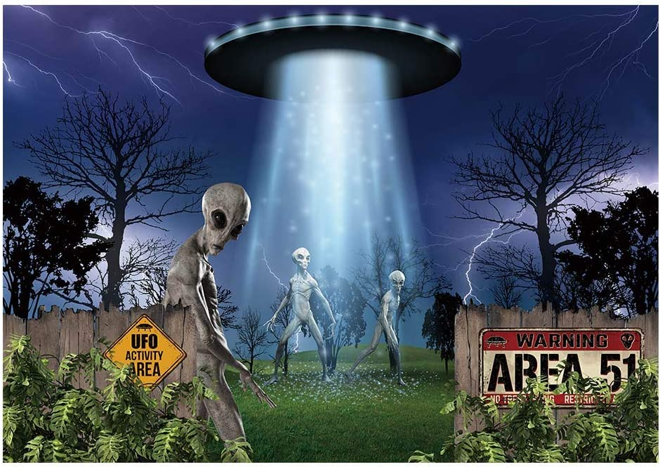 Funnytree 7x5FT UFO Alien Backdrop Spaceship Halloween Birthday Party Supplies Banner Flying Saucer Scary Science Background Decor Favors Gifts Photobooth Props
