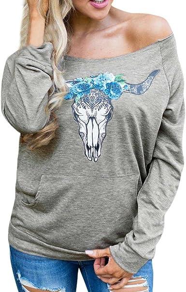 OverDose Camisetas Blusas Manga Larga para Mujer sin Hombro Camisa de Entrenamiento Tops S-XXL: Amazon.es: Ropa y accesorios