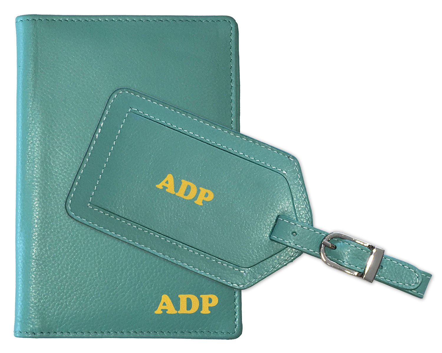 23ae6442f5ed Personalized Monogrammed Turquoise Leather RFID Passport Wallet and Luggage  Tag