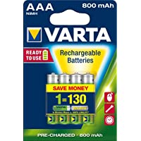 Varta 56703412404 VARTA AAA 800mAh Ni-MH ACCU Ready to Use Rechargeable Batteries Pack of 4