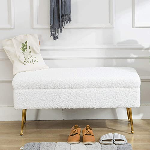 Modern Rectangular Fuzzy Storage Bedroom Benches, Luxury Soft Faux Sheepskin Fur Entryway Bed Shoe Bench with Gold Plating Metal Legs Brass Ivory White