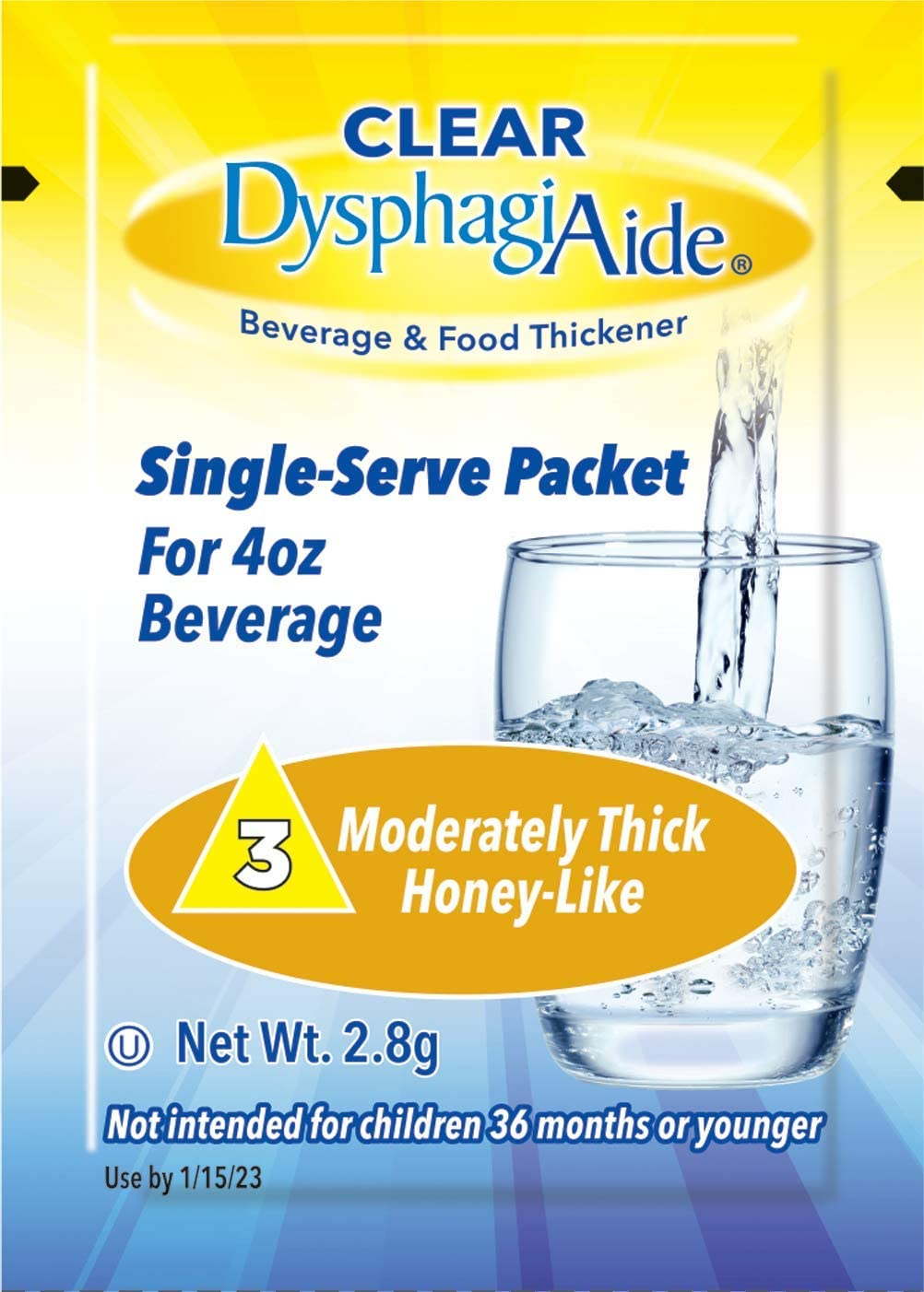 Clear DysphagiAide® Instant Beverage and Food Thickener, Box of 20 Single Serve Packets Level 3- Moderately Thick (Honey-Like Thickness)