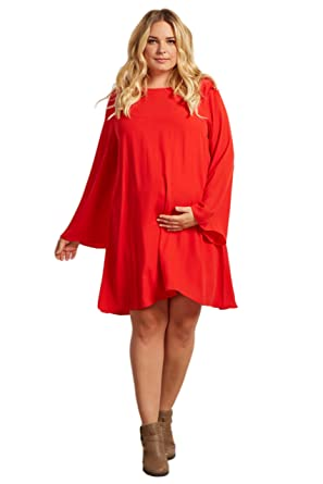 Pinkblush Maternity Red Chiffon Bell Sleeve Plus Size Maternity
