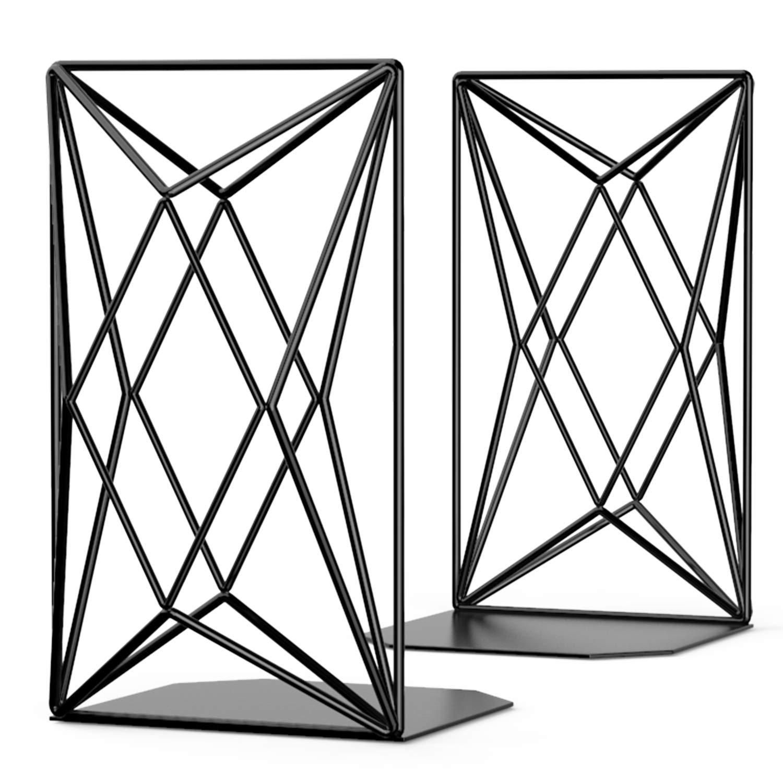 MaxGear 8'' Heavy Duty Decorative Bookends, Unique Geometric Design, Metal Book Ends for Shelves, Book End, Bookend, Book Support, Book Stopper for Home & Kitchen, Non-Skid, 8'' x 4.75'' x 6'', Black by MaxGear