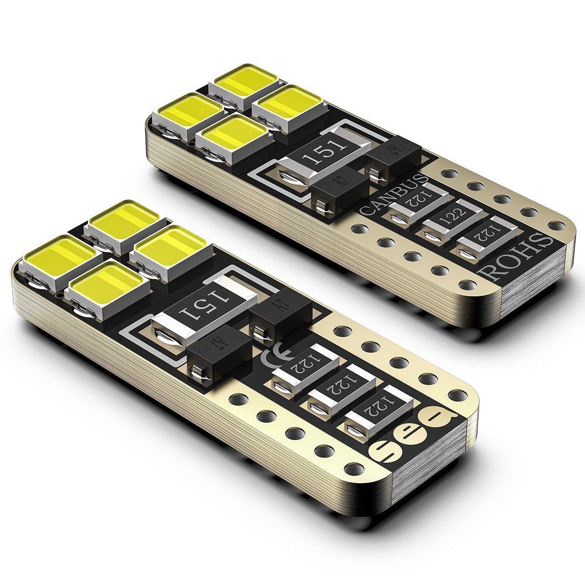 Bombillas LED Coche T10 W5W 6000K SEALIGHT 8 SMD Canbus LED 555 501 558 2825 175 192 168 194 Y Más Wedge Lampara para coches sin polaridad xenón 12V de ...