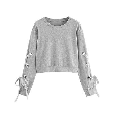 Ladies Tie Lace Up Cold Cut Shoulder Pullover Sweatshirt Top Long Sleeve Eyelet