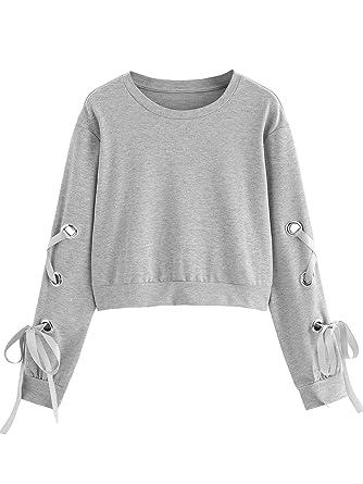 46085e27 SweatyRocks Women's Casual Lace Up Long Sleeve Pullover Crop Top Sweatshirt  (Small, 1-