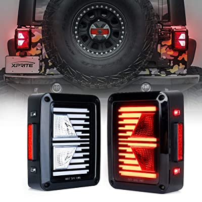 Xprite LED Tail Lights w/Turn Signal & Reverse Light Clear Lens Taillights Assembly for 2007-2020 Jeep Wrangler JK JKU - Linear Series: Automotive