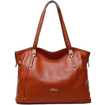 6b1d777363b66 CLUCI Frauen Damen Ledertasche Handtasche Umhängetasche Schultertasche Tote  Bag Elegant Braun