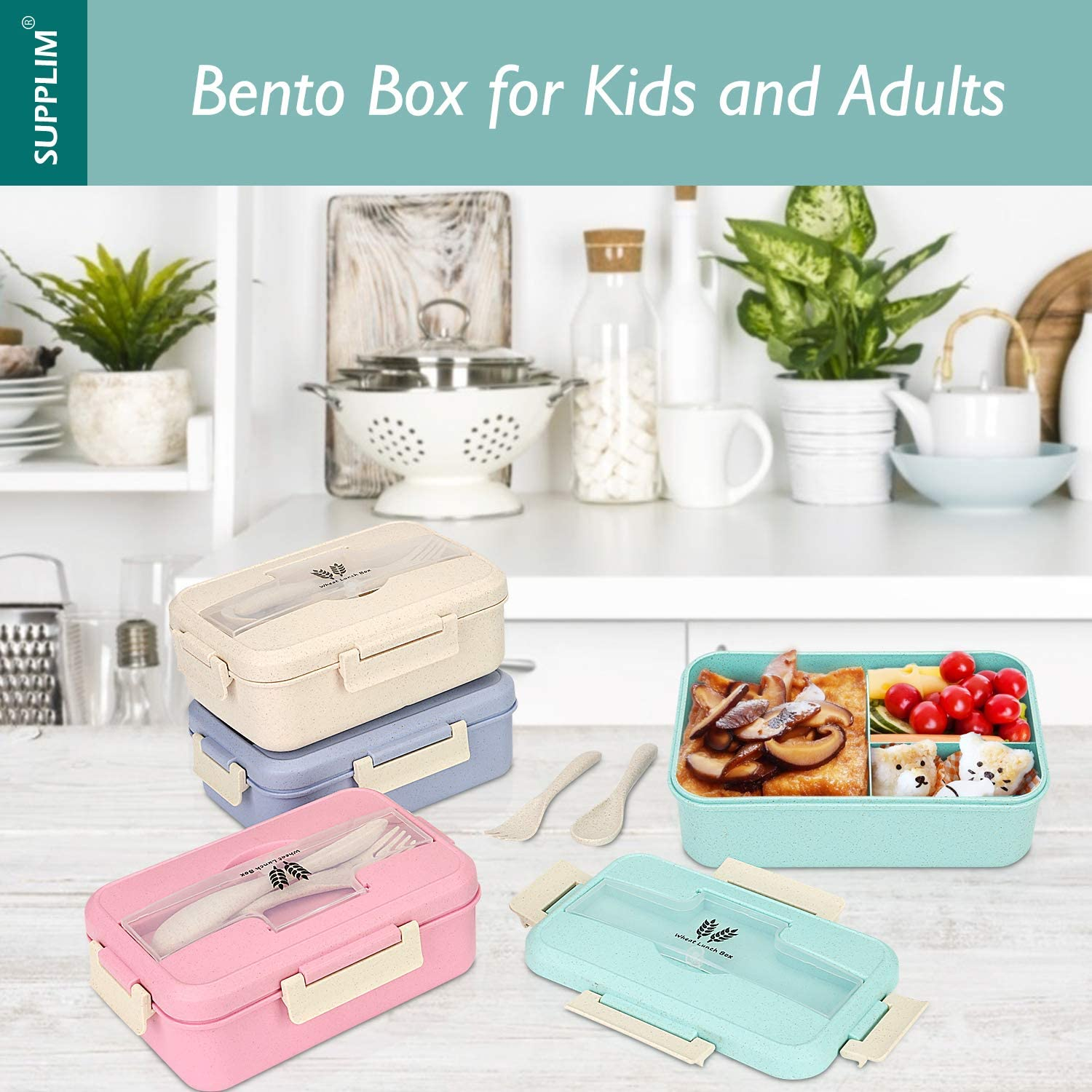 Supplim Bento Box For Kids /& Adults With 3 Compartment,Wheat Fiber Lunch Box Leak Proof Lunch Container With Spoon /& Fork Blue