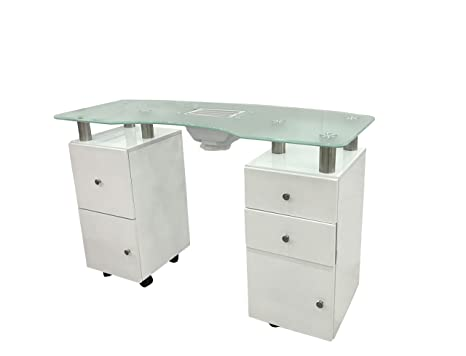Crisnails ® Mesa Manicura Profesional Mesa de Trabajo Salón Belleza (MS Cristal Blanco)