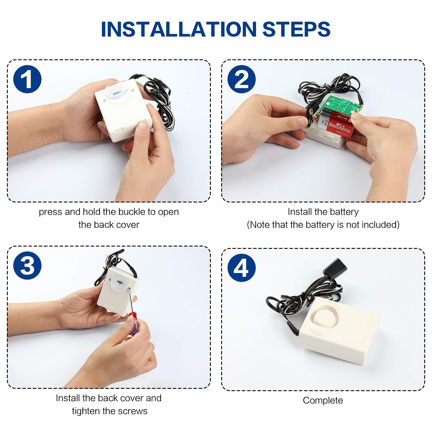 Water Pipe Leak Alarm Swimming Pool Water Level Bathroom Suitable for Kitchen ATOPSUN Water Leak Detector Alarm and Sensor Alarm IN07A Battery Powered Include Battery 120dB Detection