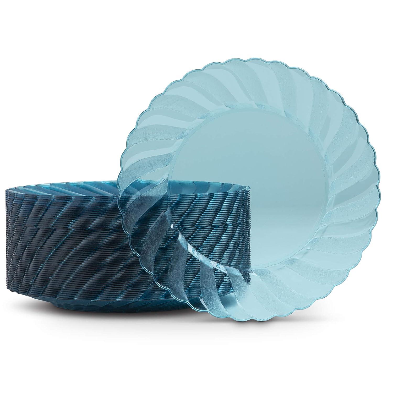 プラスチック製プレート 6.6インチ 円形 使い捨てプレート 結婚式ケーキ デザート 前菜 カナペ サラダ ターコイズ 硬質プラスチック リムのディナーウェア 50枚   B07G15Y3M8