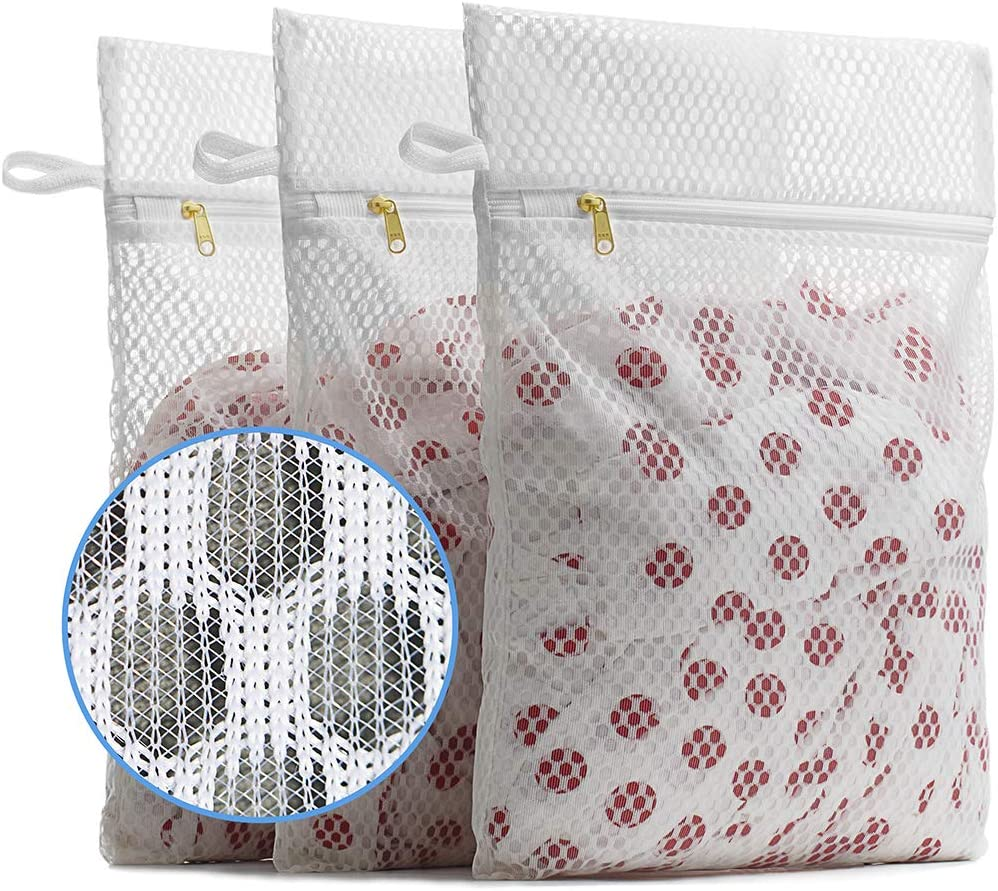 TENRAI Mesh Laundry Bag- Set of 3 Medium Heavy Mesh, Use YKK Zipper, Hanging Ring Safety Washing Net Kit, Suitable for Travel, Lingerie, Gloves, Socks, Yoga Pants, Bra, Jeans, Sweater Storage (LX)