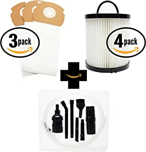 9 Replacement AS-Bag Premium Vacuum Bags & 4 DCF-21 Filter with 7-Piece Micro Vacuum Attachment Kit for Eureka - Compatible with Eureka AirSpeed AS1000A, Eureka AS1000A, Eureka AS1001A, Eureka AS1051A, DCF-21 Dust Cup Filter, Eureka AS1050, Eureka AS1053AX, Eureka AirSpeed Gold AS1001A, Eureka AirSpeed AS1050