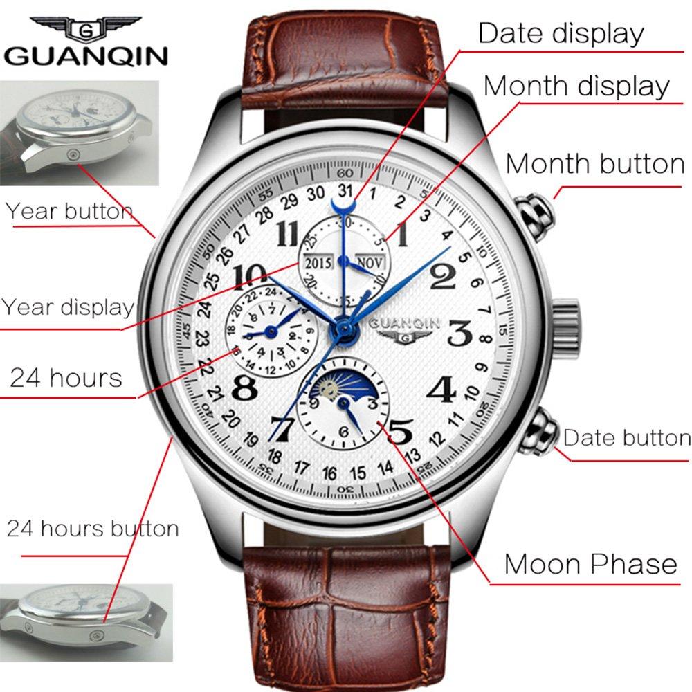 De moda de lujo Deportes reloj mecánico automático de acero inoxidable zafiro impermeable, fase de la luna FECHA: Amazon.es: Relojes