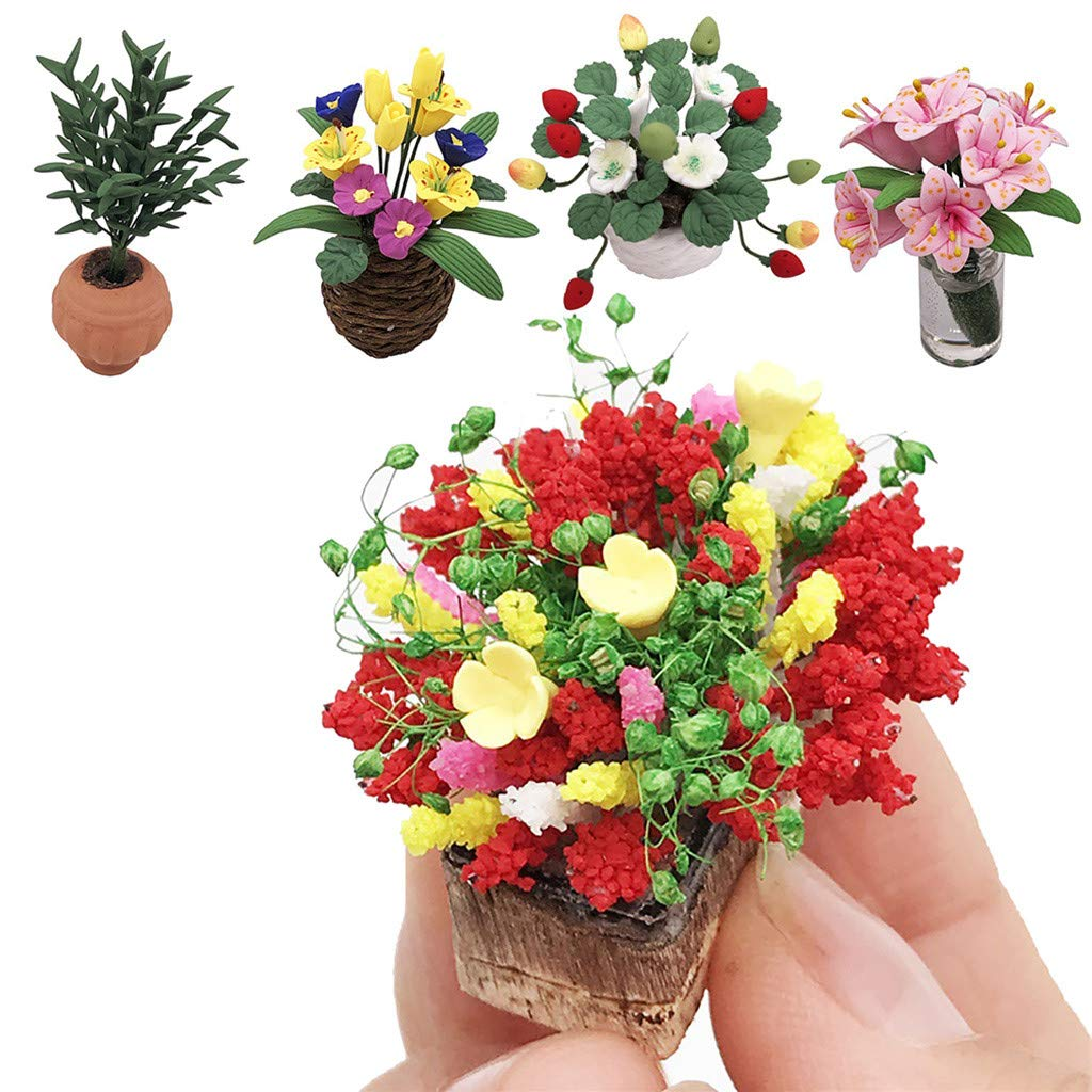 Maikouhai Miniature Artificial Plant Exquisite Fake Flower for 1//12 Dollhouse Mini Green Plant Ornament Decor Doll House Bedroom Living Room Decor Girls Kids Toys Red Resin