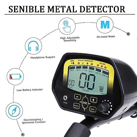 MARNUR Detector de Metales subterráneos de Alta precisión, 2 Modo de búsqueda Pantalla LCD Bobina de búsqueda Sensible Resistente al Agua fácil de Usar ...