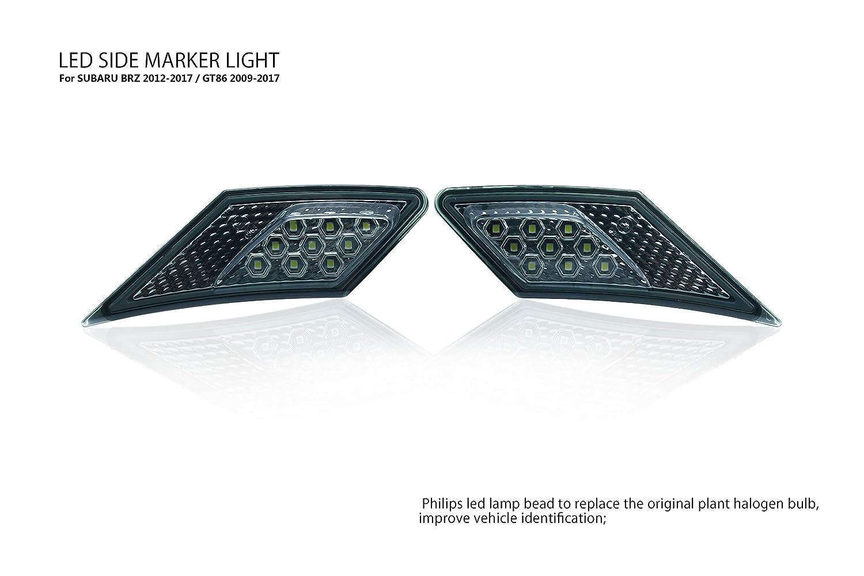 BSK OEM SMD Led Technology E-mark Side Marker Lamp For 2012-2017 SUBARU BRZ / 2012-2018 TOYOTA 86 GT86 / 2012-2018 Scion FR-S(Smoke Lens with Amber Light)