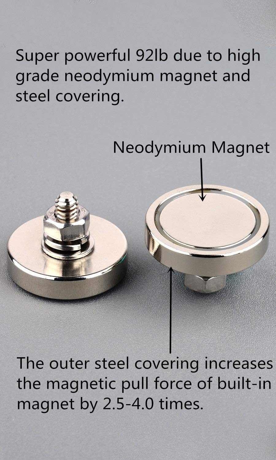 MUTUACTOR 2Pack Super Powerful Neodymium Cup Magnet with 1//4-20 Male Threaded Stud Camera and Other Brackets. 100lb Vertical Pull-Force Non-Shattering Magnet Base with Nut and Washer for Lighting