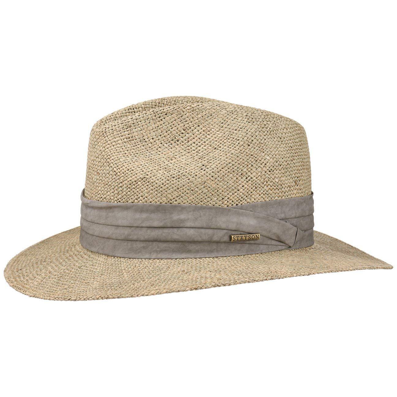 Stetson Cappello di Paglia Caney Seagrass Sole Cappelli Spiaggia Traveller 04843b68653a