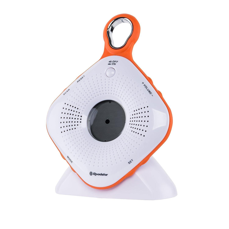 Roadstar SRA-2110C FM Radio per doccia (ricerca stazioni, grande ventosa, impermeabile IPX 4Norm, funzione sveglia) SRA-2110C orange