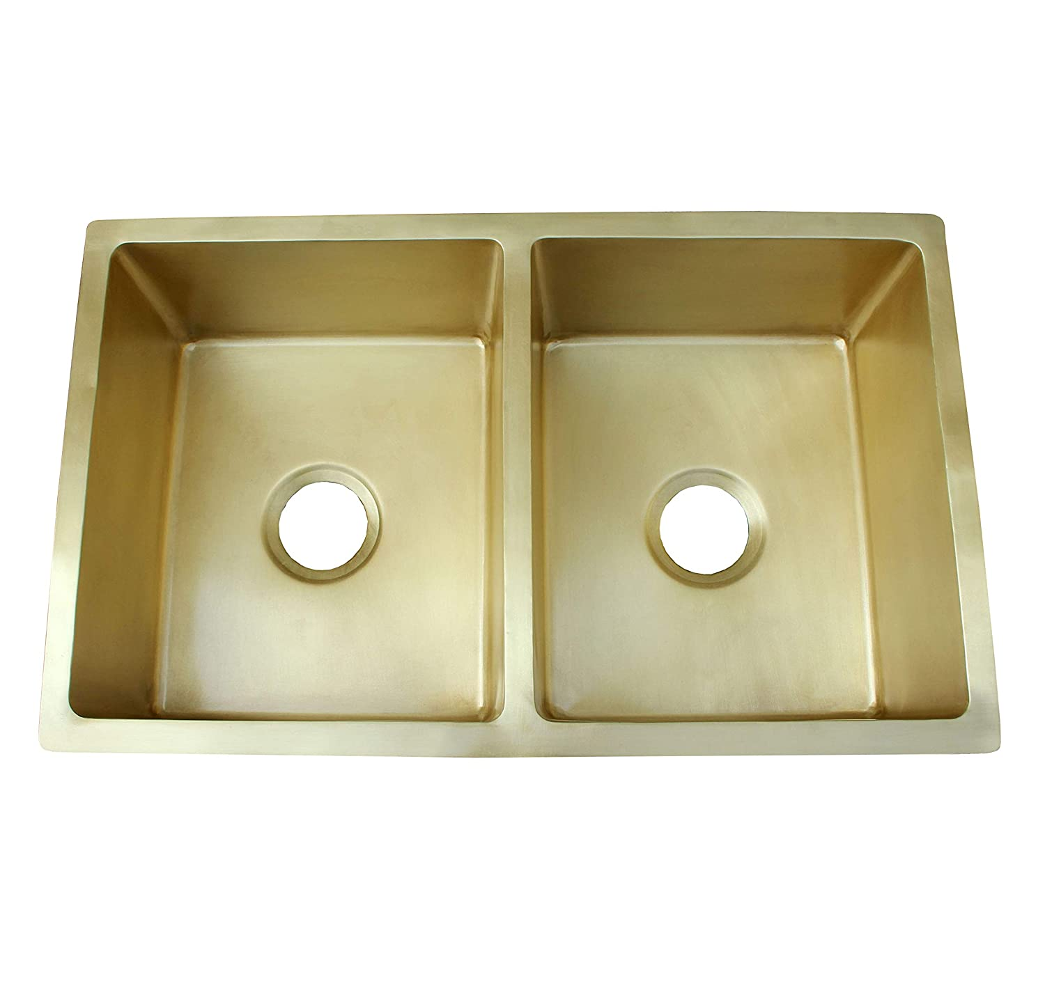 Double Basin Farmhouse Sink Smooth Brass Handcrafted by ...