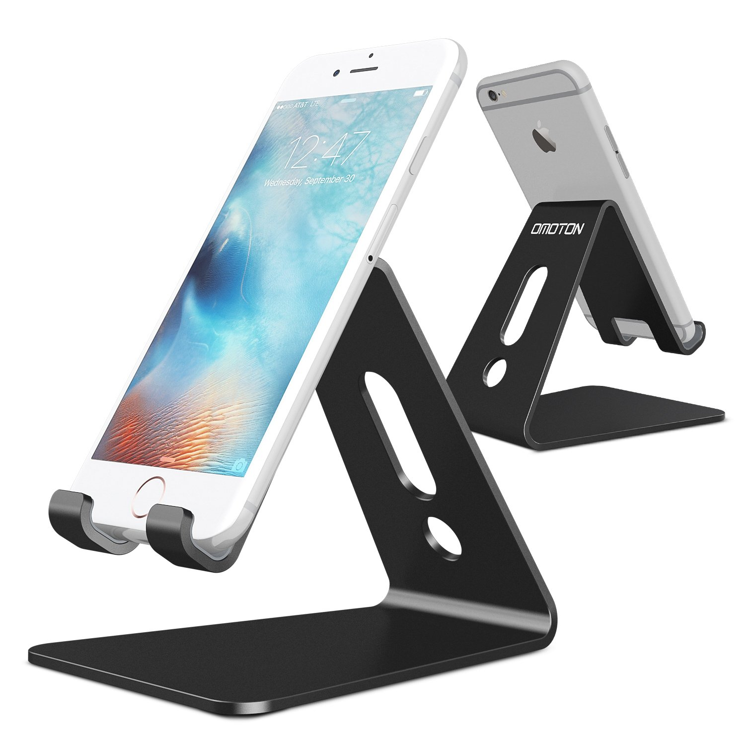 [Updated Solid Version] OMOTON Desktop Cell Phone Stand Tablet Stand, Advanced 4mm Thickness Aluminum Stand Holder Mobile Phone Tablet (up to 10.1 inch), Black